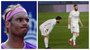 Un montaje con imágenes de Rafa Nadal, Nacho y Benzema.