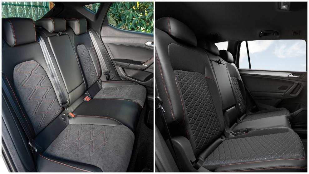 El Seat León TGI (izqda) y el Tarraco e-Hybrid son vehículos de 5 plazas.
