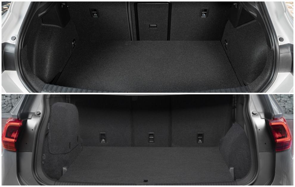 El León TGI (arriba) tiene un maletero de 300 litros y el del Tarraco E-Hybrid cubica 610 litros.