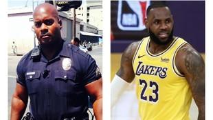 El agente de policía Deon Joseph y LeBron James