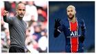 Pep Guardiola, en la final de la Copa de la Liga; y Neymar, festejando...