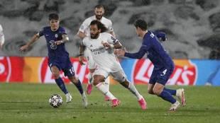 Marcelo, en el partido de ida ante el Chelsea.