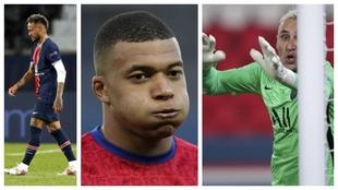 Un montaje fotográfico con imágenes de Neymar, Mbappé y Keylor...