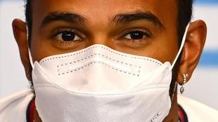 Lewis Hamilton, en la rueda de prensa del GP de Portugal 2021.