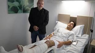 Borja Lasso, en el hospital cuando recibió la visita del presidente...