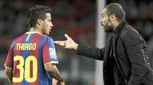 Thiago Alcántara, con Guardiola en el Barcelona.