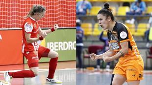 Gaby y Luisa Mayara, jugadoras de Futsi y Burela celebran un gol