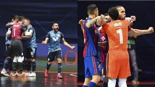 Los jugadores de Movistar Inter y Bara celebran sus goles en cuartos...