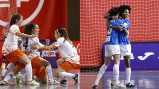 Las jugadoras del Universidad de Alicante y del Torreblanca celebran...