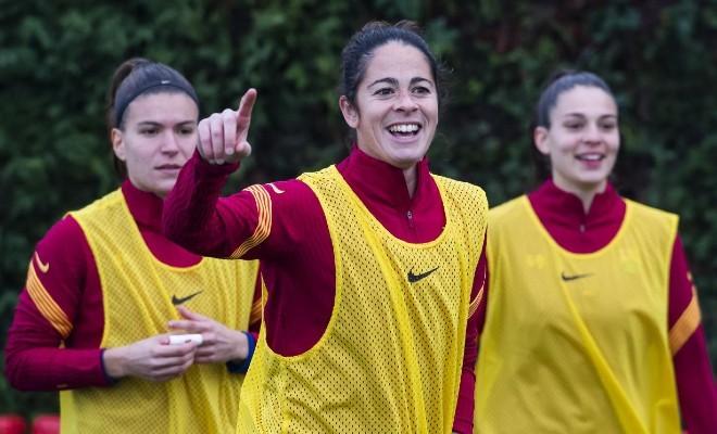 Marta Torrejón durante un entrenamiento en la Ciudad Deportiva Joan Gamper.