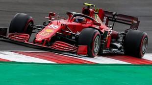 Carlos Sainz, con el Ferrari SF21, en la clasificación de Portugal.