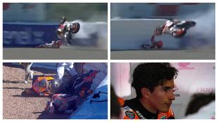 Así fue la escalofriante caída de Marc Márquez en la curva 7 del...