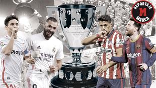 Montaje con Navas, Benzema, Suárez, Messi e imágenes de campeones de...