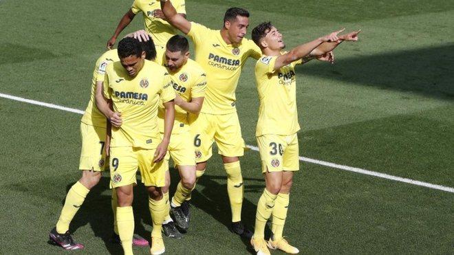 Yeremi celebra su gol con el Villarreal.