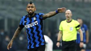 Arturo Vidal, en un partido con el Inter