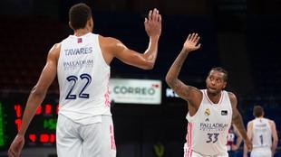 Walter Tavares y Trey Thompkins chocan las manos durante un partido.