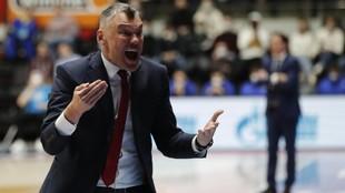 Jasikevicius, en plena tarea durante un partido ante el Zenit.