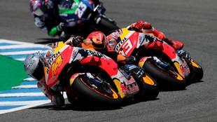 Espargaró y Márquez, durante el pasado Gran Premio de España.