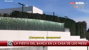 """La plantilla del Barça, cantando en casa de Messi: """"¡Campeones...!"""""""