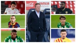 Eeric García, Mingueza, Emerson, Koeman, Umtiti, Miranda y Lenglet.
