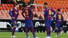 Los jugadores del Barcelona, en un partido