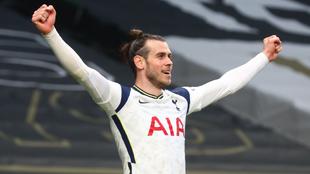 Gareth Bale festeja un gol con el Tottenham.