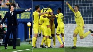 Emery, los jugadores del Villarreal y Trigueros, tres escenas del...