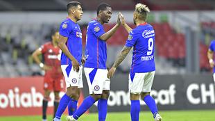 Bryan Angulo en festejo de gol en Concachampions