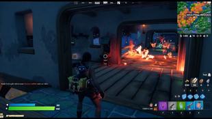 Una casa en llamas en Fortnite