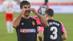 Abdón celebra un gol al Almería en un duelo de esta temporada.