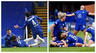 Los jugadores del Chelsea celebran el gol de Mount y las jugadoras del...