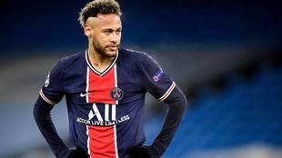 Neymar, en el partido de Champions en el Etihad contra el Manchester...
