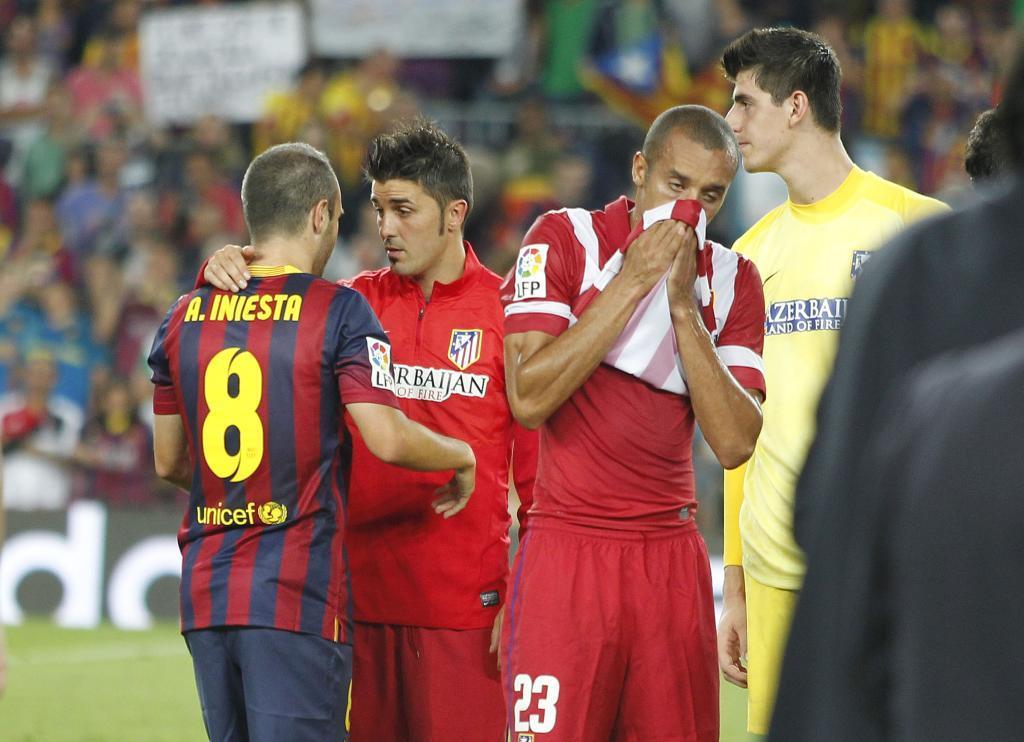 Era la primera visita del asturiano al Camp Nou como rojiblanco.