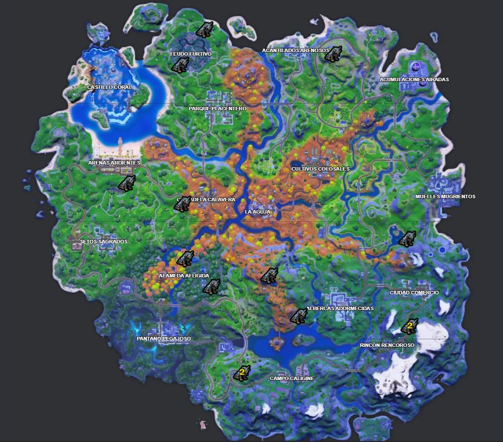 Localizaciones de más lobos en el mapa según fortnite.gg