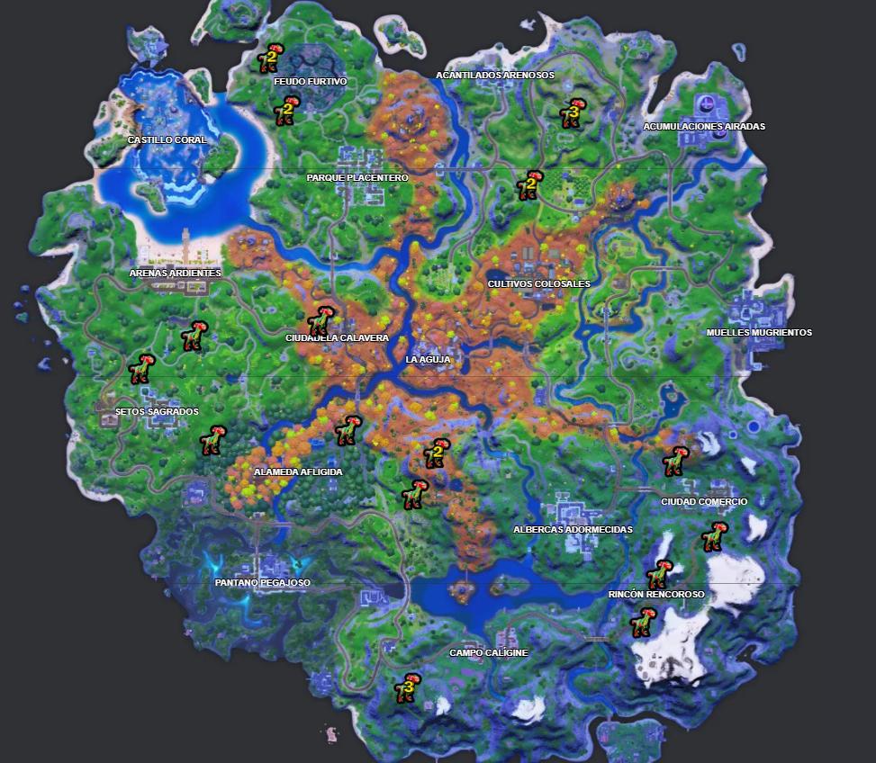 Zonas con mayor densidad de velocirraptores en el mapa