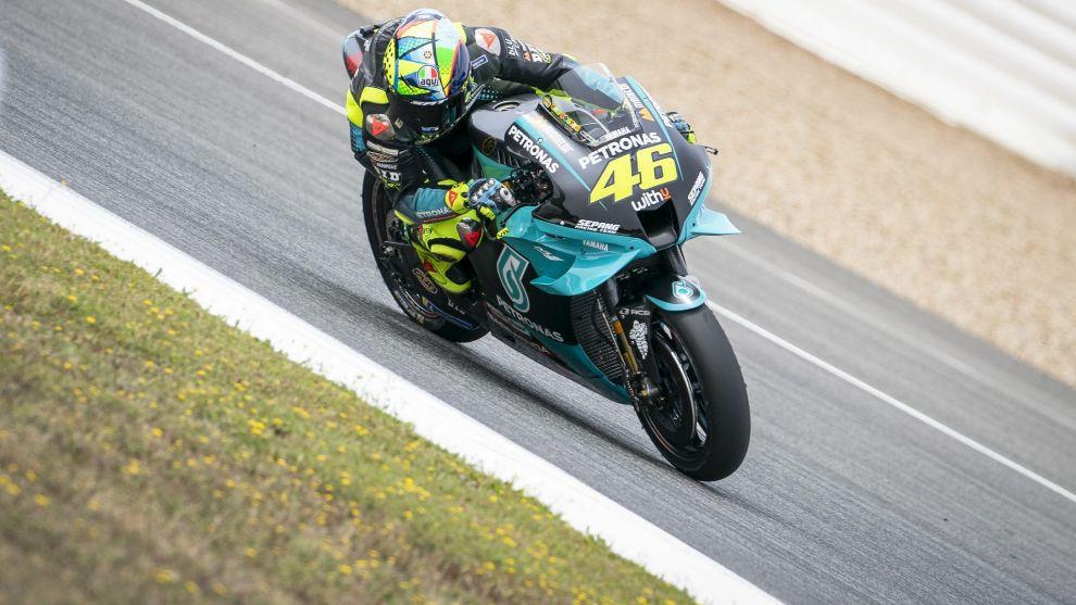 Valentino Rossi, en el test en Jerez.