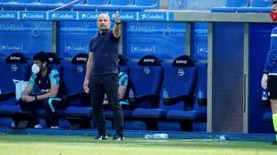 Paco López hace indicaciones durante el partido contra el Alavés.