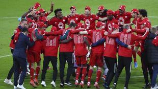 El Bayern, celebrando este sábado su título.