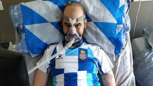 Jordi Sabaté Pons, enfermo de ELA e hincha del Espanyol