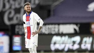 Neymar, tras el gol del Rennes.