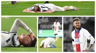 Un montaje con imágenes de lamentos de jugadores de la Juventus y el...