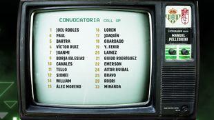Lista de convocados para el Betis - Granada