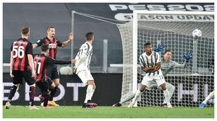 Brahim Diaz scores against Juventus.