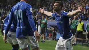 Rodri Ríos celebra uno de sus goles con el Oviedo.
