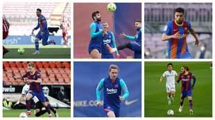 Messi, Piqué y Alba, en la fila de arriba, De Jong, Griezmann y...