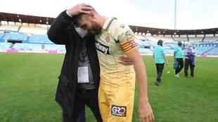 David López, con Vicente Moreno, tras el ascenso.