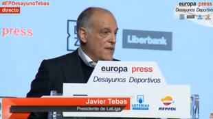 El presidente de LaLiga, Javier Tebas, durante los Desayunos de Europa...