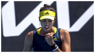 Garbine Muguruza celebra un punto contra la rusa Liudmila Samsonova en...