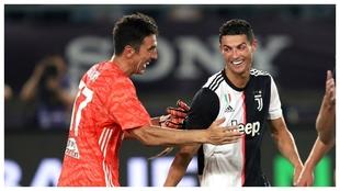 Buffonand Cristiano Ronaldo.