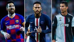 Messi, Neymar  and Ronaldo